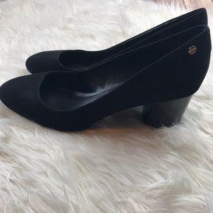 Calvin Klein Kasey black suede block heel pump S12